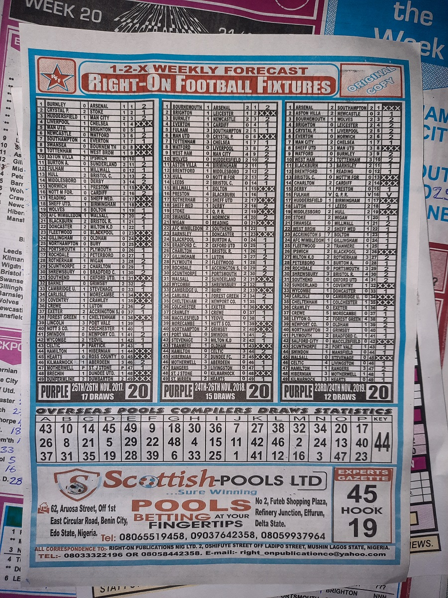 week 20 right on fixtures 2020 back page