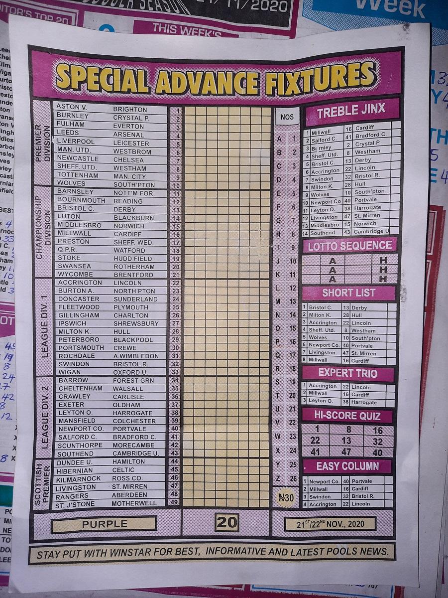 week 20 special advance fixtures 2020