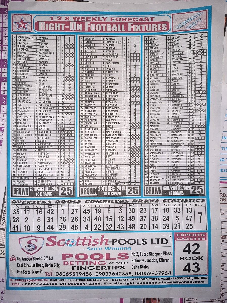 week 25 right on fixtures 2020 back page