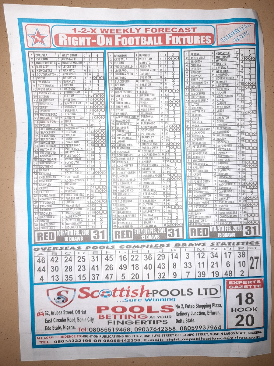 week 31 right on fixtures 2021 back page
