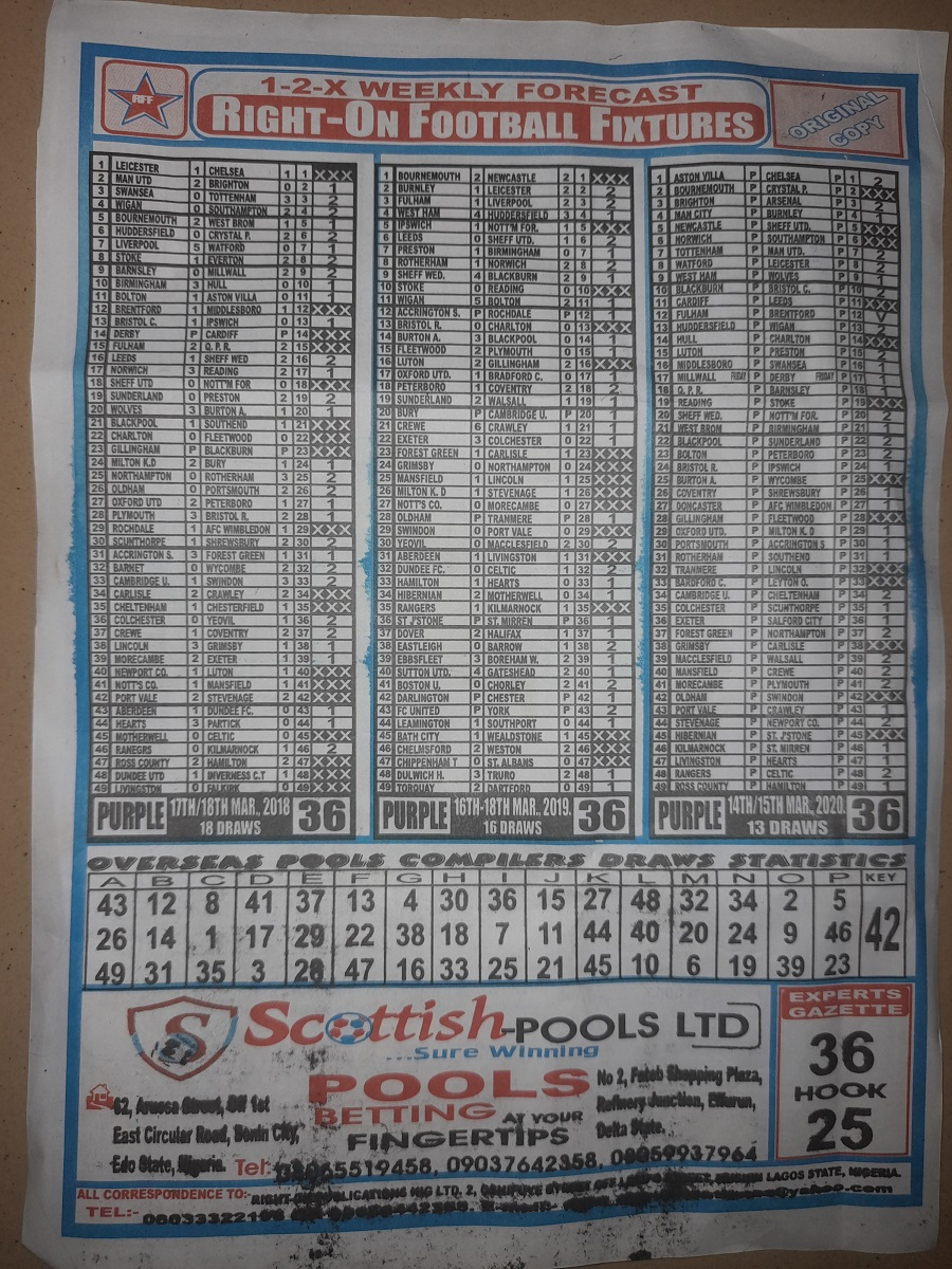 week 36 right on fixtures 2021 back page