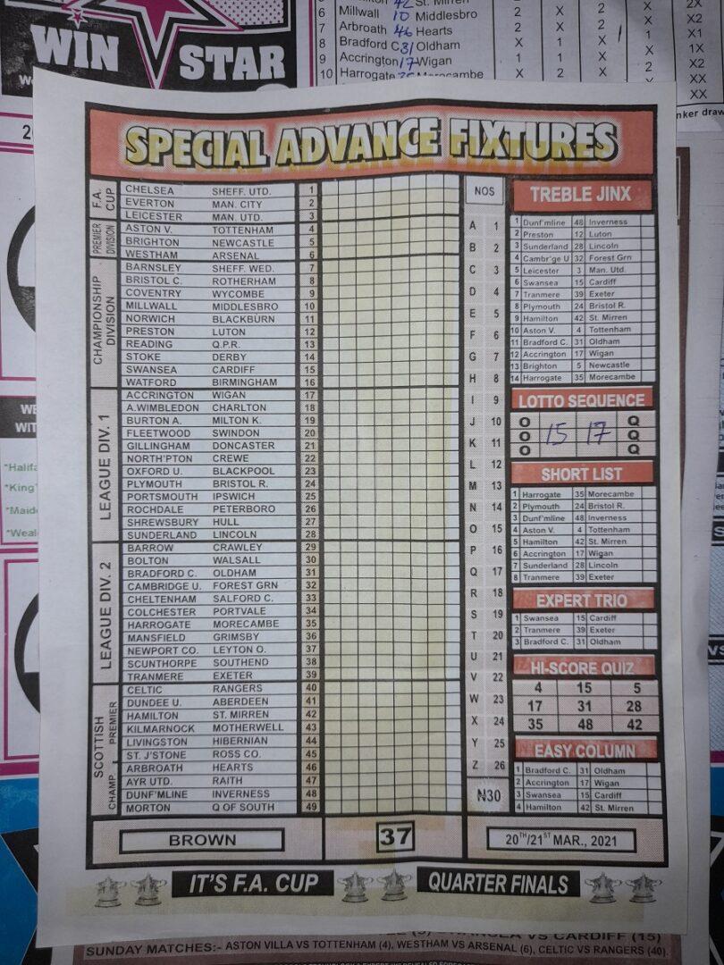 week 37 special advance fixtures 2021