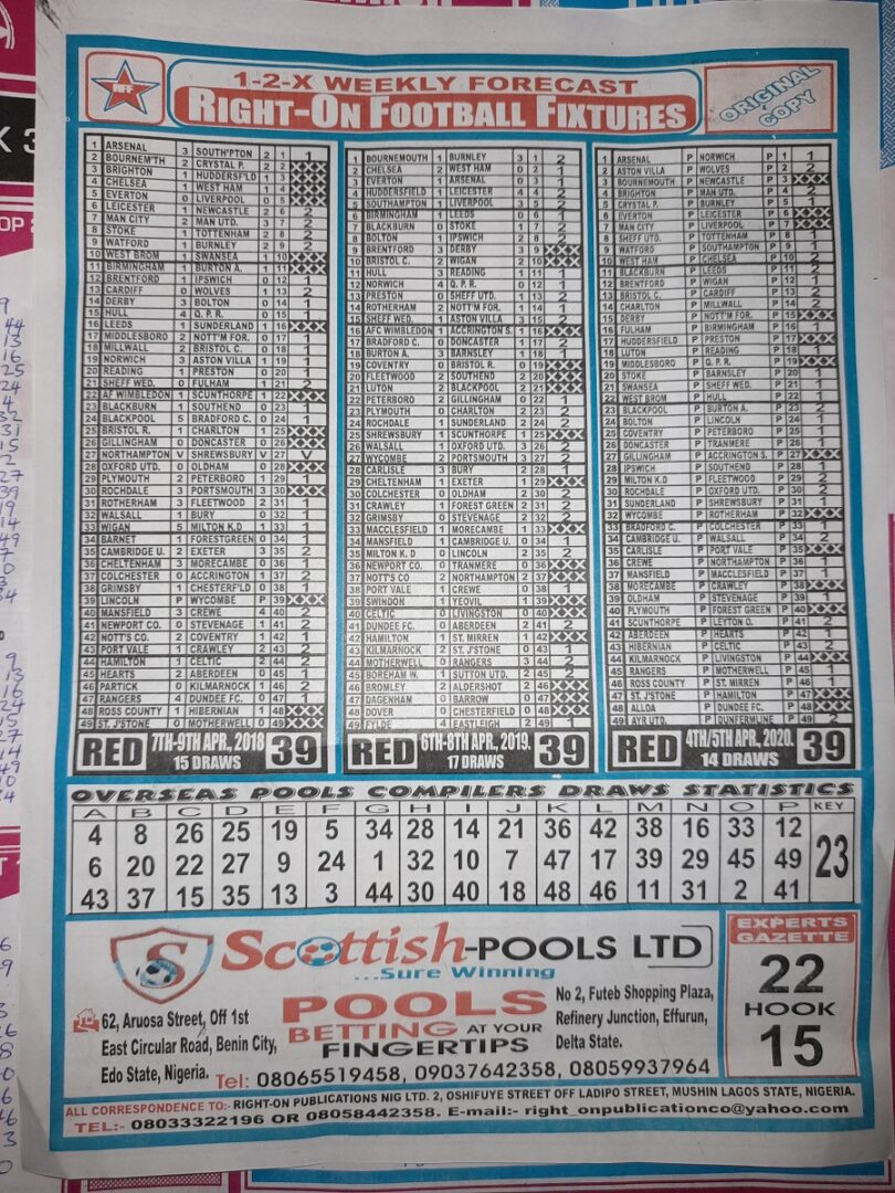 week 39 right on fixtures 2021 back page