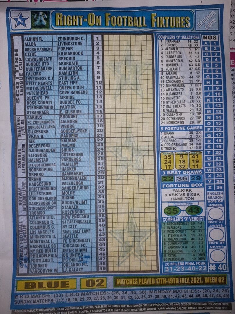 week 2 right on fixtures 2021 front page