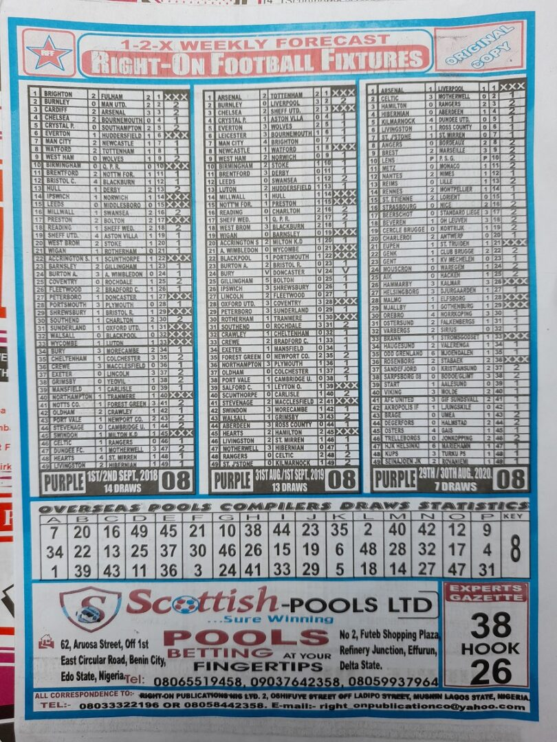 week 8 right on fixtures 2021 back page