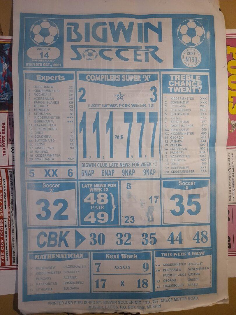 week 14 bigwin soccer 2021 page 1